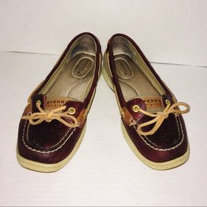Sperry Top Sider Maroon Slip On Loafer Shoes